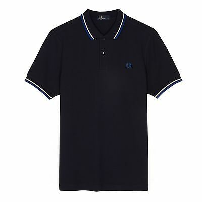 Fred Perry Men's Twin Tipped Polo Shirt M3600, Navy Blue,Mod,Soul,Ska, Scooter