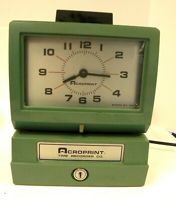 Acroprint Manual TIme Recorder/Time Clock 125NR4 no key Works