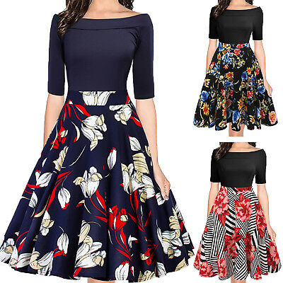 50s Rockabilly Womens Sexy Off Shoulder Retro Floral Swing Evening Party Dresses