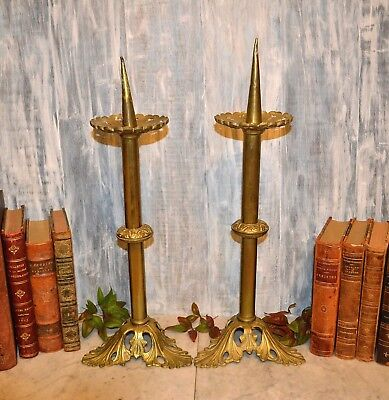 Antique Pair Gilt Brass French Altar Candlesticks Ornate Church Candle Holders
