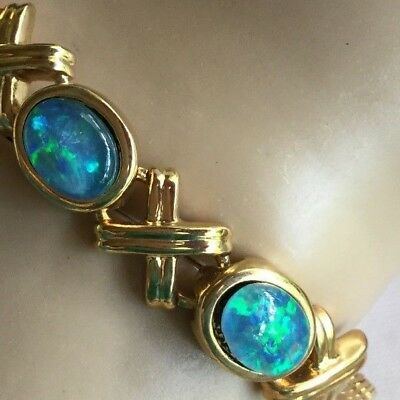 Vintage Outback Gold Chain Opal Bracelet with three genuine Opals 19 - 22 cm