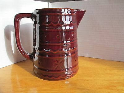 "Vintage Marcrest Stoneware 6"" Pitcher Daisy Brown Ovenproof USA"