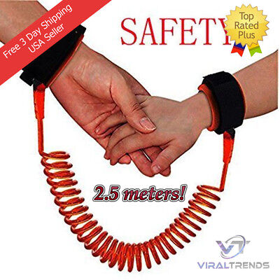 2.5m Baby Child Toddlers Kids Anti Lost Safety Velcro Wrist Link Leash Orange