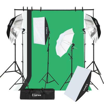 Photo Studio Photography Kit 4x 45W Light Bulb Umbrella 3x Backdrop Stand Set