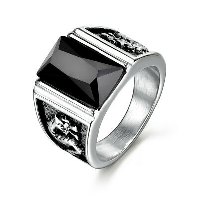 Silver Dragon Relief Stainless Steel Black Crystal Onyx Gemstone Men Finger Ring