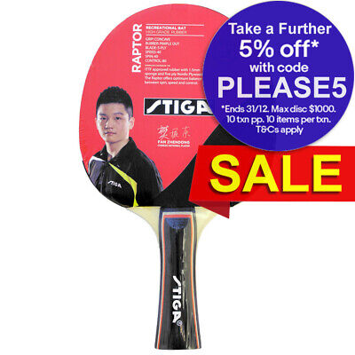 Stiga Raptor Table Tennis Bat Ping Pong Game Racket Paddle Rubber Black/Red