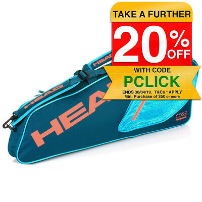 Head Core Pro 3 Racquet/Racket Tennis Bag w/ Shoulder Strap/Pockets Sport - Teal