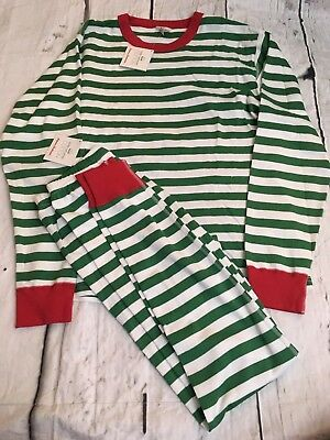 Hanna Andersson Adult Merry Stripe Green Long John's Pajamas Size S Small Nwt