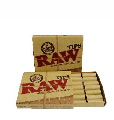 RAW PRE ROLLED Natural Cigarette Filter Paper Tips (2 Packs) Free Shipping