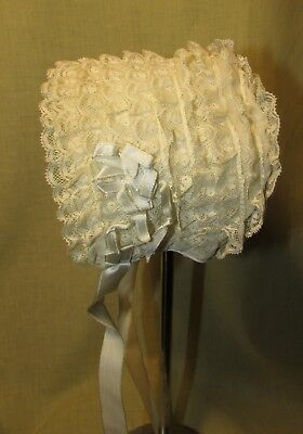 Baby Cap, Rows Of Valenciennes Lace, Silk Satin Ribbons