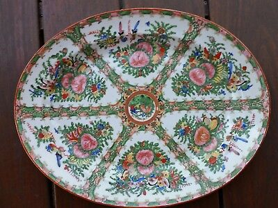 ANTIQUE chinese FAMILY ROSE RARE LARGE BUTTERFLIES BIRDS MEDALION PLATTER