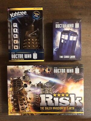 Doctor Who Bundle of 3 Board Games: RISK + YAHTZEE + The Card Game 2nd Edition