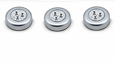 3pk  LED Wireless Stick-on Tap Light,Silver for Closets, Cabinets, Counters etc
