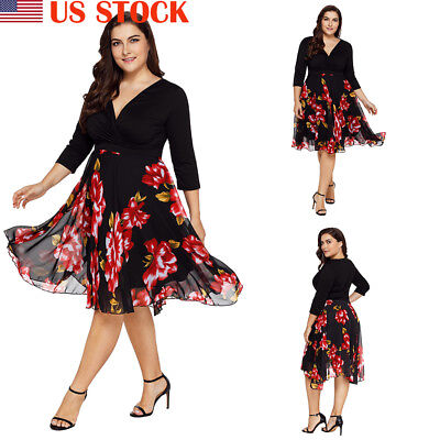 9f293df669a Women Plus Size Floral Long Sleeve Swing Dress Rockabilly Evening Party  Dress