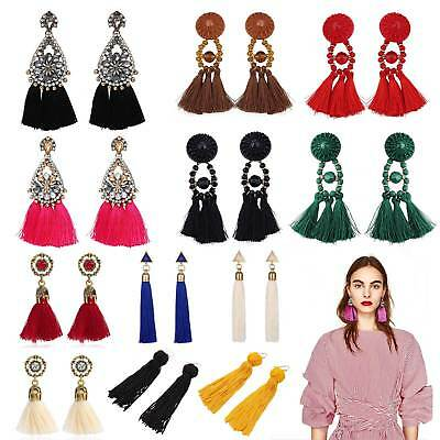 Fashion Women Long Tassel Dangle Earrings Bohemian Fringe Drop Earrings Jewelry