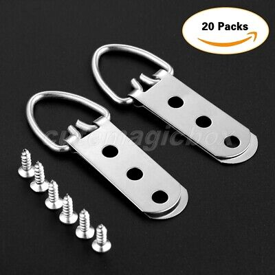 20Pcs D-Ring Picture Hangers & 60 Screws 3 Hole Heavy Duty Frame Hanging 64×23mm