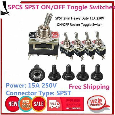 5Pcs SPST 2Pin Car Boat 15A 250V ON/OFF Rocker Toggle Switch + Waterproof Boot&Q
