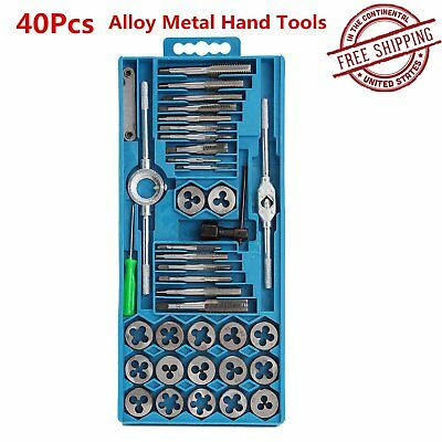 40Pcs Metric Tap Wrench and Die Pro Set M3-M12 Nut Bolt Alloy Metal Hand Tools&X