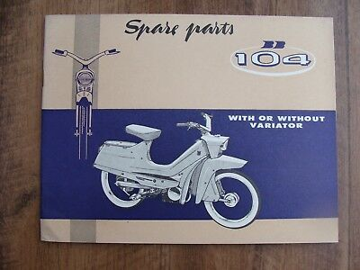 PEUGEOT BB-104 Spare Parts Book   (GENUINE PEUGEOT MANUAL) With Without Variator