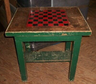 Primitive Hand Painted Games Table. Chess Checkers Vintage Antique Shabby Chic