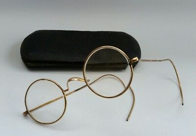 Vintage Rolled Gold Round Steampunk Spectacles Reading Glasses Case Box Cable