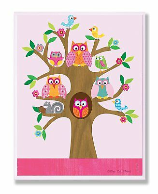 The Kids Room by Stupell Owls, Birds, And Squirrel In A Tree Rectangle Wall 11 x
