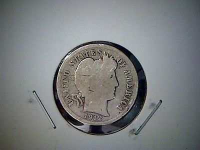 1912 P   United States Barber Dime, Old United States Silver Coin, Philadelphia