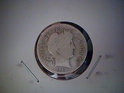 1912 D   United States Barber Dime, Old United States Silver Coin,