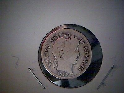 1912 P   United States Barber Dime, Old United States Silver Coin,