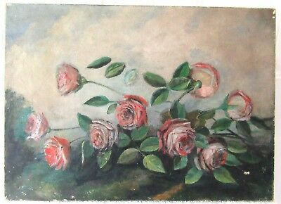 Antique Victorian Still Life Floral Oil Painting 13X18 Country Folk Art
