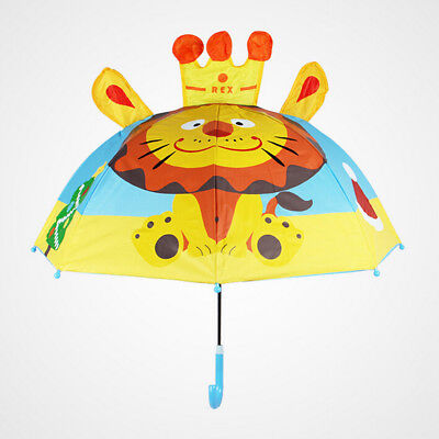 Kids Toddler Novelty Cartoon 3D Umbrella  Long Handle Rain Brolly Gift