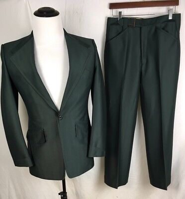 Vtg 70s S Men L Youth Green Polyester Suit Wide Collar Jacket 32X27 Pant Costume