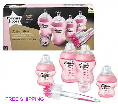 Pink Newborn Baby Feeding Bottle Starter Set Tommee Tippee Closer to Nature New