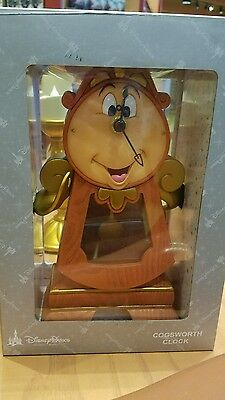 """NEW Disney Parks Beauty and the Beast Cogsworth Clock 10"""" Working Clock Figurine"""