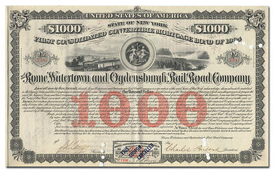 Rome, Watertown and Ogdensburg Rail Road Company Bond Certificate