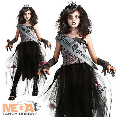 Goth Prom Queen Zombie Girls Halloween Fancy Dress Childs Kids Vampire Costume