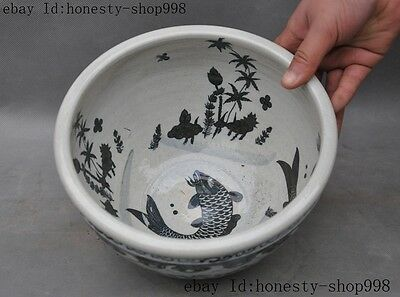China Old Blue and white porcelain Glaze Auspicious goldfish Fish Pot jar Crock