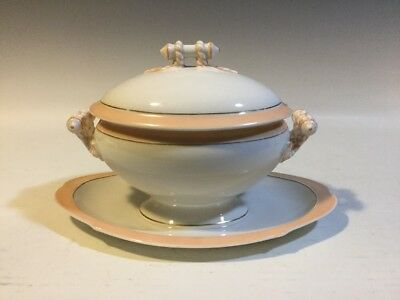 Old Paris Porcelain Lidded Sauce Tureen w/Attached Under Plate Rope Finial