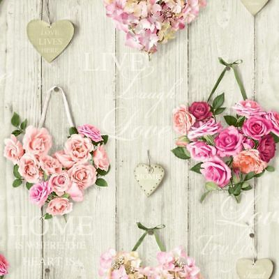 Vintage Shabby Chic Heart Floral Wallpaper Pink A14503 Free Delivery