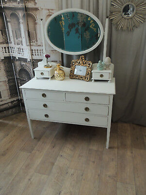 Lovely shabby chic Edwardian dressing table with beveled mirror.