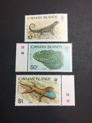 Cayman Islands 583-585 MMH OG - 10c to $1 Full Set - Lizards