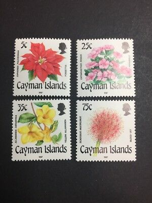 Cayman Islands 586-589 MMH OG - 5c to 75c Full Set - Flowers.  25c damaged