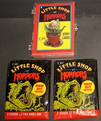 Little Shop of Horrors Full Set 44 Story Card Stickers & 2 Wax Packs Topps 1986