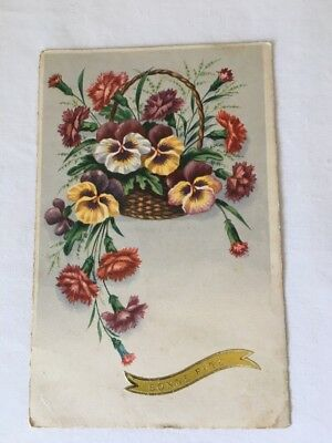 Vintage Easter Postcard Made In France Basket Of Flowers Early 1900's