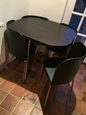 ikea fusion square table 4 chairs dining room set black compact