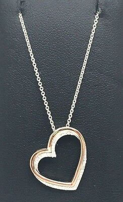 Sterling Silver 14k Rose Gold Tone Diamond Pave Double Heart Overlap Necklace