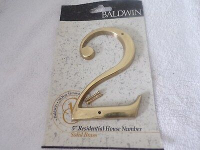 """Baldwin 5"""" Solid Brass House Number 2"""