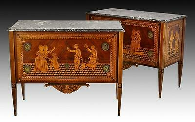 Pair Antique Marble Top Commodes Dresser D. MARIA 18th Century from Noble House