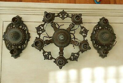 Antique Vintage Riddle & Co Ceiling Light Lamp Chandelier Fixture