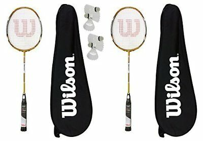 2 x Wilson Recon Lite BLX Badminton Rackets with Carry Cases + 6 Shuttles